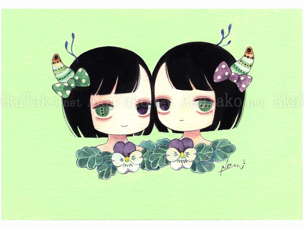 Em Nishizuka Leuco Twin Chan Original Painting