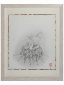 Fuco Ueda Original Drawing Chrysanthemum and Double Headed Snake