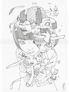 Shintaro Kago Black and White original drawing 13