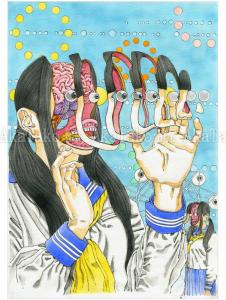 Shintaro Kago Original Painting Ferris Wheel