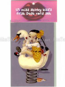Trevor Brown Li'l Miss Sticky Kiss postcards - Ride A White Swan
