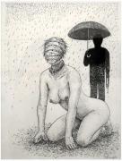 Asaji Muroi Bandaged Dog in the Rain original drawing