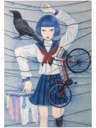 Chika Yamada Crow and Bicycle Original Painting