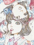 Shintaro Kago Tenugui Koi Fish - detail