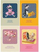 Trevor Brown Toy Box postcards Iris, Goldfish, Radioactive Rabbit, Taiko