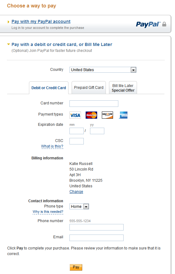 PayPal Checkout with Credit Card