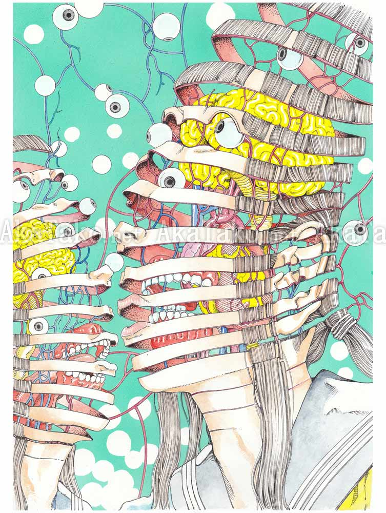 Shintaro Kago Poster Two Spirals SIGNED